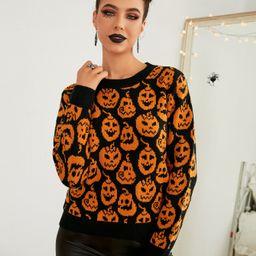 Halloween Pattern Crew Neck Sweater | SHEIN