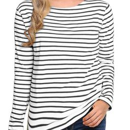 Women's Long Sleeve Striped T-Shirt Tee Shirt Tops Slim Fit Blouses   Amazon (US)