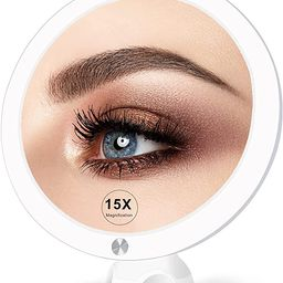 15X Lighted Magnifying Mirror with Lights - Large 8 Inch Makeup Mirrors with Suction Cups and Mag... | Amazon (US)