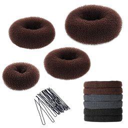 Hair Bun Maker Kit, YaFex Donut Bun Maker 4 Pieces(1 Large, 2 Medium and 1 Small), 5 Pieces Elast... | Amazon (US)
