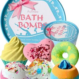 Aofmee Bath Bombs Gift Set, Handmade Bubble and Floating Fizzies Spa Kit, Shea and Cocoa Dry Skin... | Amazon (US)