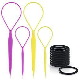 Topsy Tail Hair Tools,TsMADDTs 4 Pcs Hair Braiding Tool Topsy Tail Loop French Braid Loop Tool To... | Amazon (US)