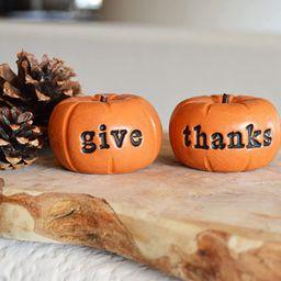 Thanksgiving orange give thanks pumpkins farmhouse rustic barn decor gift/vintage give thanks pre...   Amazon (US)