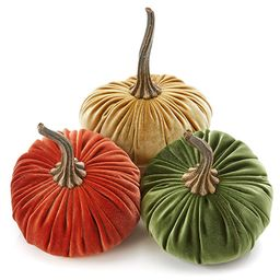 6.25 Inch Large Velvet Pumpkins Set of 3 Includes Rust Gold Olive, Handmade Home Decor, Holiday M...   Amazon (US)