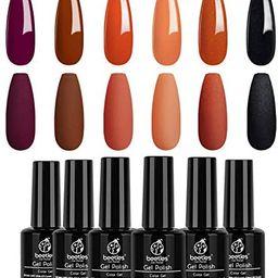 Beetles Gel Polish Set 6 Colors Red Orange Glitter Fall Wedding Collection Purple Black Gel Nail ... | Amazon (US)