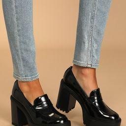 Kassidy Black Patent Platform High Heel Penny Loafers | Lulus (US)