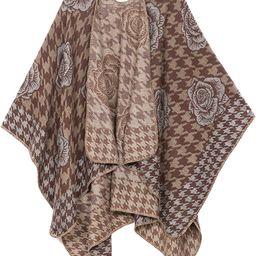 Sakkas Lupe Womens Reversible Poncho Wrap Cape Shawl Sweater Coat Cardigan Pattern   Amazon (US)