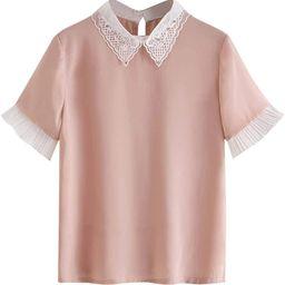 Romwe Women's Cute Contrast Collar Short Sleeve Casual Work Blouse Tops   Amazon (US)