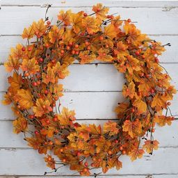 20 Inch Autumn Wreath Artificial Maple Leaves Wreath With Berries Fall Harvest Thanksgiving Hallo... | Wayfair North America