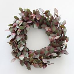 """Burgundy Green Real Touch Seeded Eucalyptus Wreath - 22"""" 