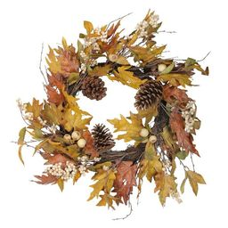 Raz Imports Brown and Yellow Fall Leaf Artificial Christmas Wreath - 24-Inch, Unlit | Target