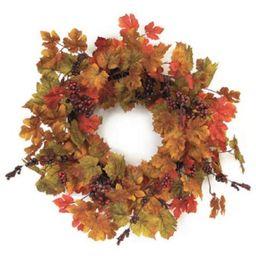 "Melrose 24"" Unlit Orange/Green Maple Leaf with Berries Artificial Wreath | Target"