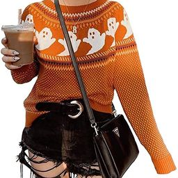 YEMOCILE Knitted Sweater for Women With Cute Ghost Pattern Gothic Streetwear with Long Sleeves fo... | Amazon (US)