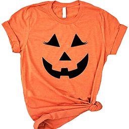 Halloween Pumpkin Face Graphic T-Shirt Womens Short Sleeve O-Neck Casual Tops Tees Shirt | Amazon (US)
