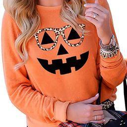 Halloween Pumpkin Leopard Glasses Sweatshirt for Women Long Sleeve Splicing Tshirt Casual Pullove... | Amazon (US)
