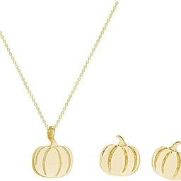 2Pcs Pumpkin Pendant Necklace Earring Set For Women Thanksgiving Halloween Jewelry | Amazon (US)