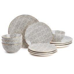 Thyme & Table Dinnerware Black & White Dot Stoneware, 12 Piece Set | Walmart (US)