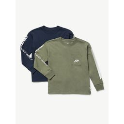Free Assembly Boys Long Sleeve Graphic T-Shirt, 2-Pack, Sizes 4-18   Walmart (US)