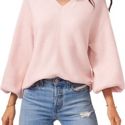 Ribbed Balloon Sleeve Cotton Blend Sweater   Nordstrom