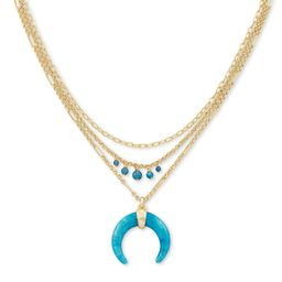 Gemma Gold Triple Strand Necklace in Teal Labradorite | Kendra Scott