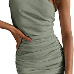 Womens One Shoulder Bodycon Ruched Cocktail Party Sleeveless Sexy Elegant Mini Dress   Amazon (US)