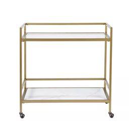 Lionel Two Tier Bar Cart On Wheels Antique Gold - Martha Stewart | Target