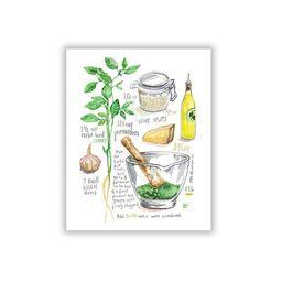 Basil pesto recipe print, Italian kitchen art, Watercolor painting, Green dining room decor, Ital... | Etsy (US)