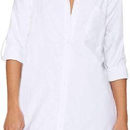 Auxo Women Long Sleeve V Neck Pocket Shirt Dress Tunic Top Casual Solid Charade Blouse | Amazon (US)