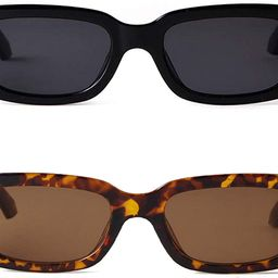 BUTABY Rectangle Sunglasses for Women Retro Driving Glasses 90's Vintage Fashion Narrow Square Frame | Amazon (US)