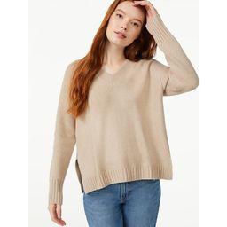Free Assembly Women's Oversized V-Neck Fuzzy Cotton Sweater | Walmart (US)