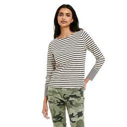 Women's Striped Long Sleeve Boat Neck T-Shirt - Nili Lotan x Target  Cream/Navy Blue | Target