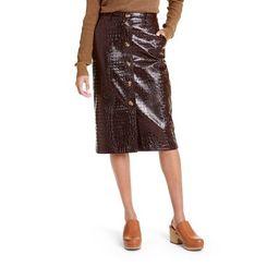 Women's Faux Leather Textured Pencil Skirt - Rachel Comey x Target Brown | Target