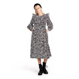 Women's Leopard Print Long Sleeve Dress - Sandy Liang x Target White/Black | Target