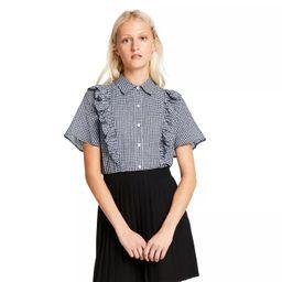 Women's Gingham Short Sleeve Ruffle Button-Down Shirt - Sandy Liang x Target Black   Target