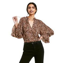 Women's Leopard Print Long Sleeve Tie-Front Blouse - Nili Lotan x Target Brown | Target