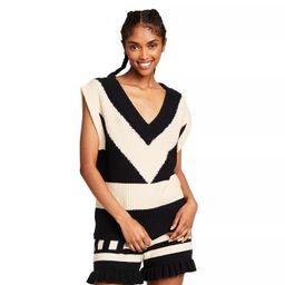 Women's V-Neck Sweater Vest - Victor Glemaud x Target Black/White | Target