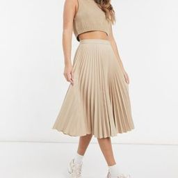 Closet London pleated midi skirt in stone | ASOS (Global)