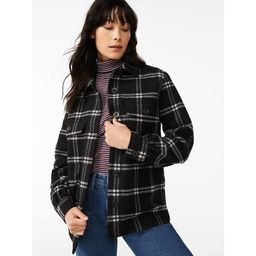 Free Assembly Women's Shirt Jacket with Gathered Sleeves | Walmart (US)