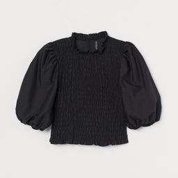 Puff-sleeved Smocked Blouse | H&M (US)