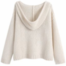 'Joanne' V-Neck Loose Knit Hoodie Sweater | Goodnight Macaroon
