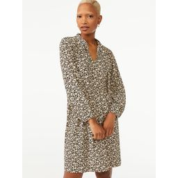 Free Assembly Women's Tie Neck Swing Dress with Long Sleeves | Walmart (US)