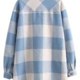 'Rosanne' Light Blue Checked Oversized Shacket | Goodnight Macaroon