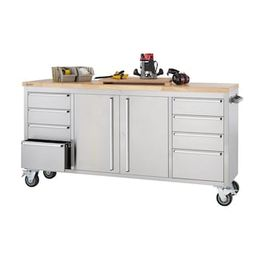 Trinity 6 ft. 8-Drawer Stainless-Steel Corner Rolling Mobile Workbench with Storage-TLS-7204 - Th...   The Home Depot