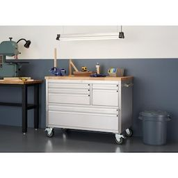 TRINITY 4 ft. 7-Drawer Stainless Steel Workbench with Storage-TLS-4815 - The Home Depot   The Home Depot