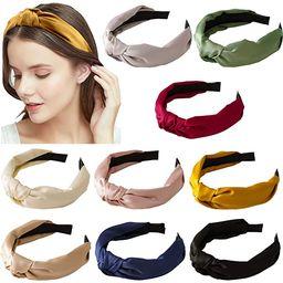 9 Pack Women Top Knotted Headband Silk Cross Twist Hairband Wide Stain Headband Girls Elastic Hai... | Amazon (US)