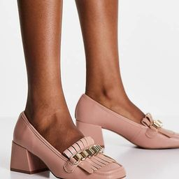 ASOS DESIGN Spencer mid-heeled chain loafers in beige | ASOS (Global)