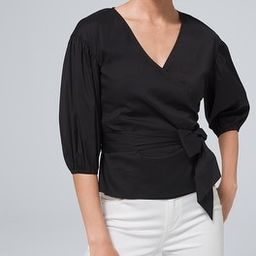 Black 3/4-Sleeve Poplin Wrap Blouse | White House Black Market