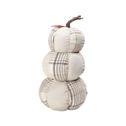 """Way To Celebrate Stacked Fabric Plaid Pumpkins, Harvest Décor; 13"""" Tall   Walmart (US)"""