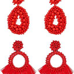 YOVORO 2 Statement Drop Earrings for Women Girls Bohemian Beaded Hoop Dangle Earrings Tassel Hand...   Amazon (US)