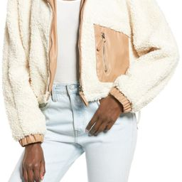 Faux Shearling with Faux Leather Trim Bomber Jacket | Nordstrom